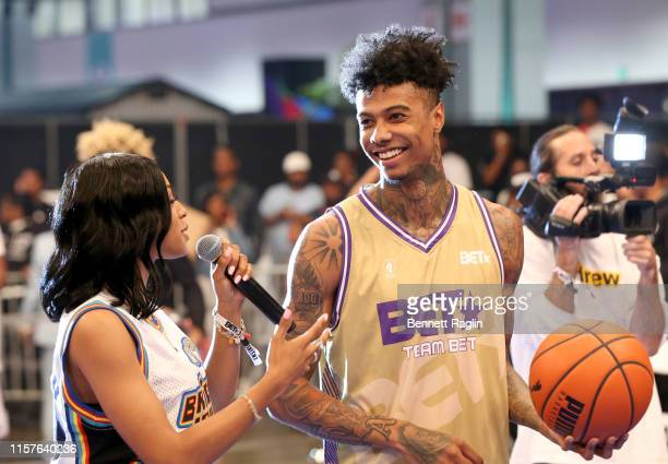 Jamila Mustafa interviews Blueface during the BETX Celebrity Basketball Game Sponsored By Sprite during the BET Experience at Los Angeles Convention...