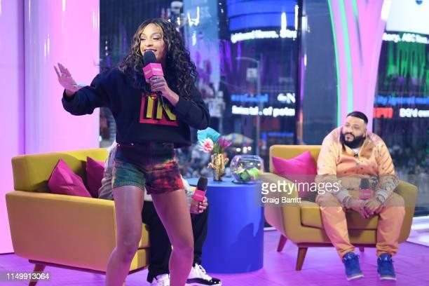 "Jamila Mustafa speaks onstage with DJ Khaled as ""MTV Presents: Khaled Con,"" a DJ Khaled-hosted fan event in MTV's Times Square Studio, celebrating..."