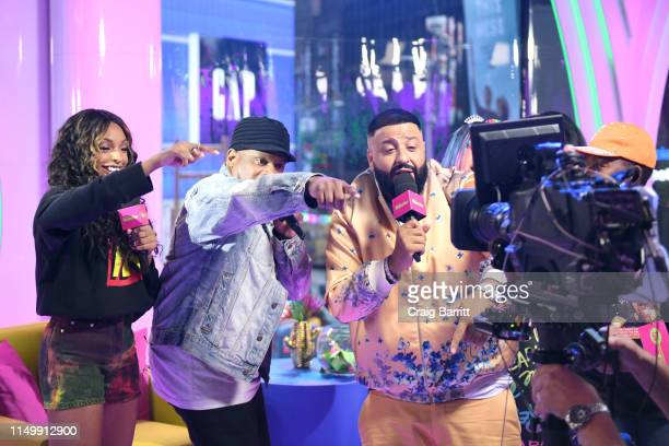 """Jamila Mustafa, Sway Calloway and DJ Khaled speak to the camera as """"MTV Presents: Khaled Con,"""" a DJ Khaled-hosted fan event in MTV's Times Square..."""
