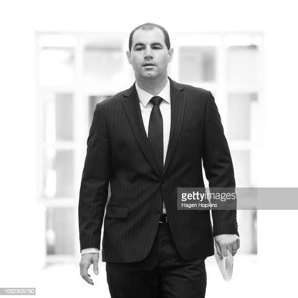 JamiLee Ross arrives for a press conference at Parliament on October 16 2018 in Wellington New Zealand National MP JamiLee Ross will learn of his...