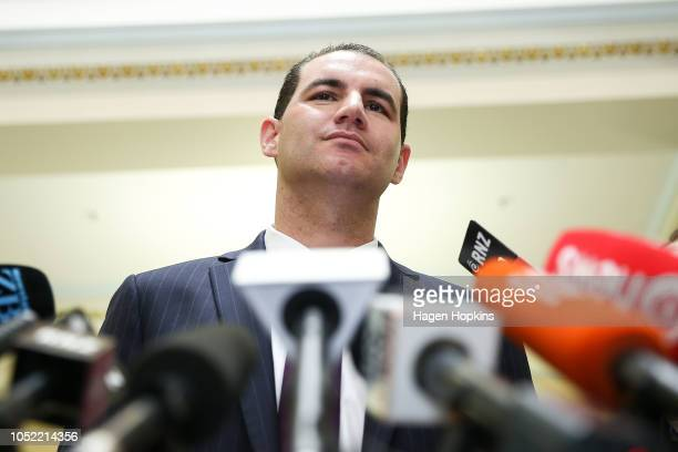 JamiLee Ross talks to media during a press conference at Parliament on October 16 2018 in Wellington New Zealand National MP JamiLee Ross will learn...
