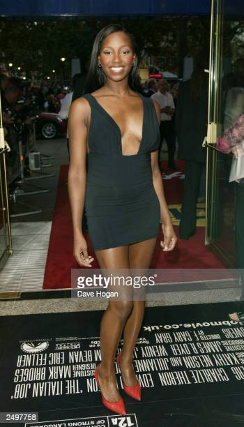 """Jamilia attends the UK charity premiere of """"The Italian Job"""" at the Empire Leicester Square September 15, 2003 in London, England."""