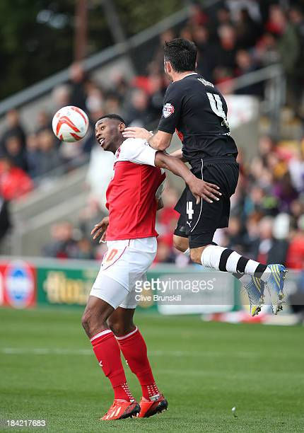 Jamille Matt of Fleetwood Town heads away from Sam Hird of Chesterfield during the Sky Bet League Two match between Fleetwood Town and Chesterfield...