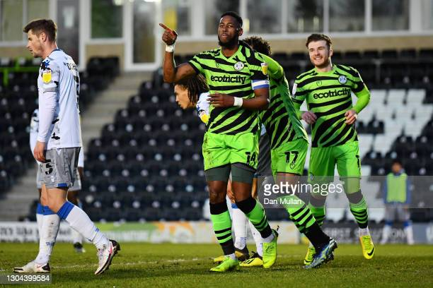 Jamille Matt of Forest Green Rovers celebrates after scoring his team's first goal during the Sky Bet League Two match between Forest Green Rovers...