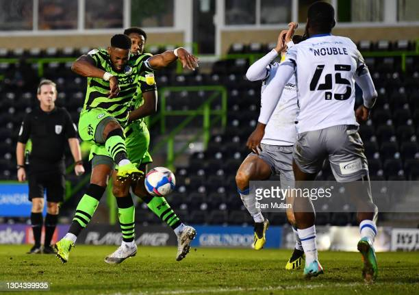 Jamille Matt of Forest Green Rovers scores his sides second goal during the Sky Bet League Two match between Forest Green Rovers and Colchester...