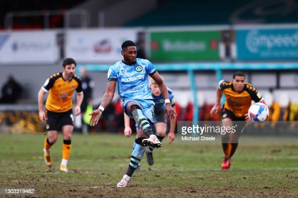 Jamille Matt of Forest Green Rovers scores their side's second goal from the penalty spot during the Sky Bet League Two match between Newport County...
