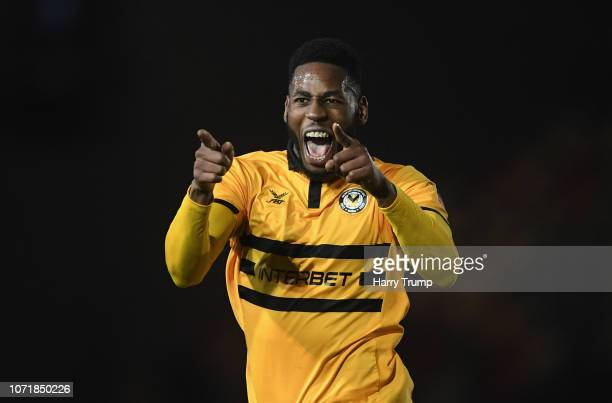 Jamille Matt of Newport County celebrates after scoring his sides second goal during The Emirates FA Cup Second Round Replay match between Newport...