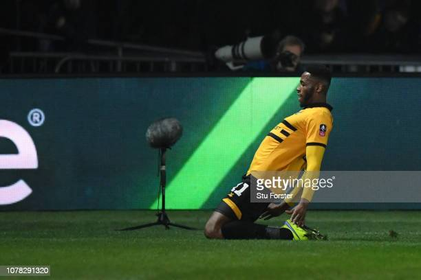 Jamille Matt of Newport County celebrates after scoring his team's first goal during the FA Cup Third Round match between Newport County and...