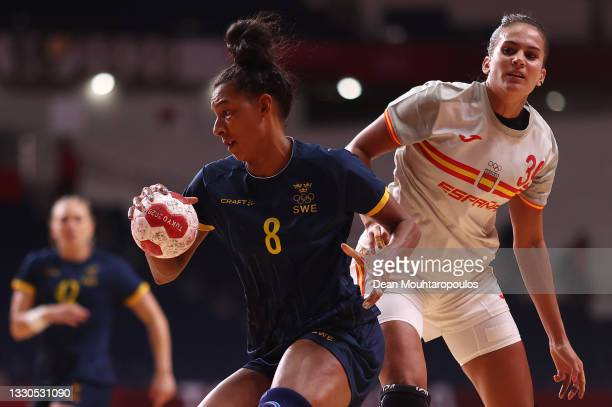 Jamina Roberts of Team Sweden in action during the Women's Preliminary Round Group B match between Spain and Sweden on day two of the Tokyo 2020...
