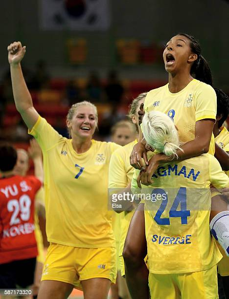 Jamina Roberts,Linn Blohm and Nathalile Hagman of Sweden celebrate the win over Korea on Day 3 of the Rio 2016 Olympic Games at the Future Arena on...