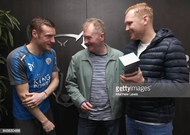Jamire Vardy of Leicester City pictured with the Carling Premier League Goal of the Month Award with the Carling Presenters Fran and Mark Finnemore...