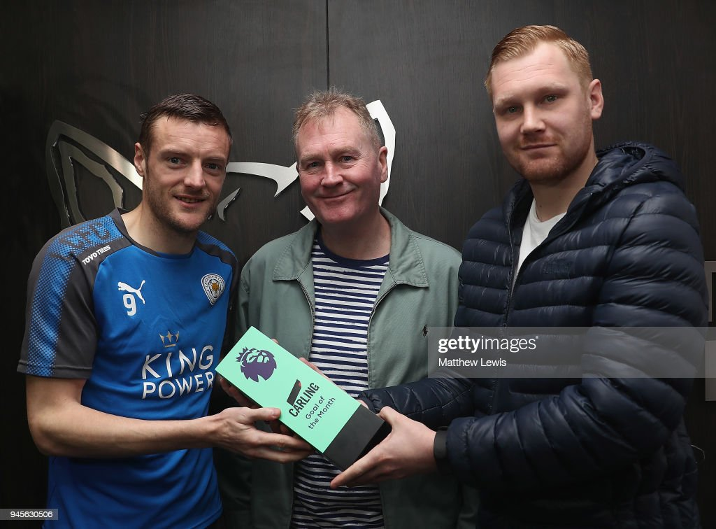 Jamire Vardy of Leicester City pictured with the Carling Premier League Goal of the Month Award with the Carling Presenters Fran and Mark Finnemore for March 2018 on April 13, 2018 in Leicester, England.