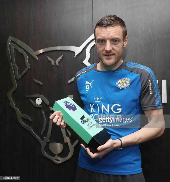 Jamire Vardy of Leicester City wins the Carling Premier League Goal of the Month Award for March 2018 on April 13 2018 in Leicester England