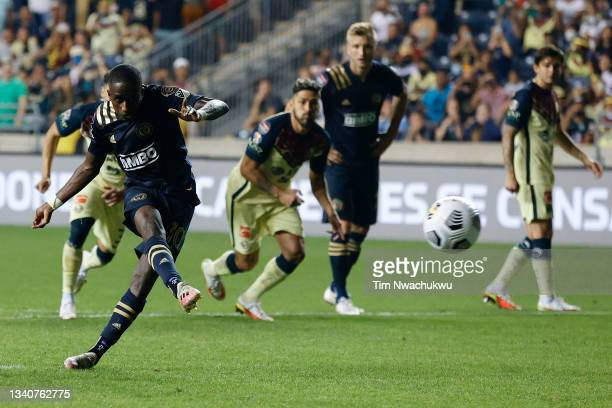 Jamiro Monteiro of Philadelphia Union attempts a penalty shot against Club America during the semifinal second leg match of the CONCACAF Champions...