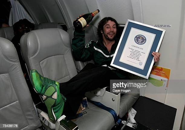 Jamiroquai frontman Jay Kay poses with his Guinness World Record for the 'Highest and Fastest Ever Concert' following the band's performance for Sony...