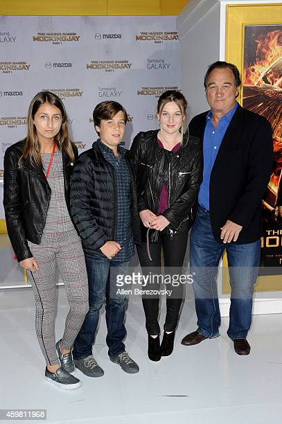 Jamison Bess Belushi and actor Jim Belushi arrives at the Los Angeles premiere of The Hunger Games Mockingjay Part 1 at Nokia Theatre LA Live on...