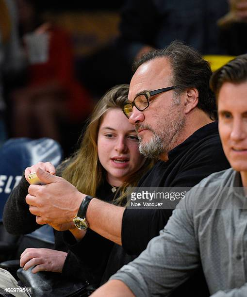 Jamison Bess Belushi and Jim Belushi attend a basketball game between the Utah Jazz and the Los Angeles Lakers at Staples Center on March 19 2015 in...