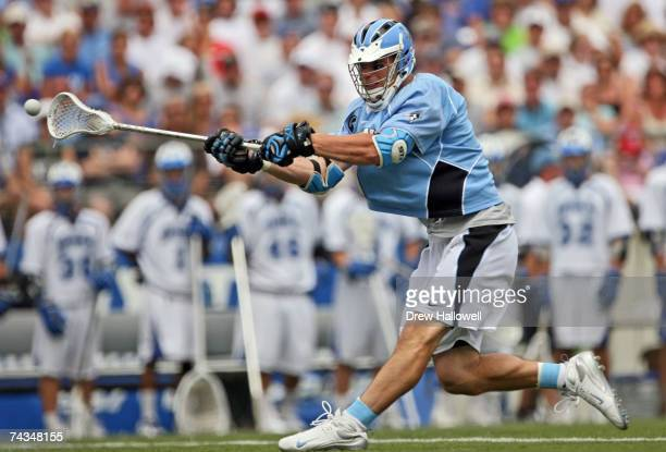 Jamison Koesterer of Johns Hopkins takes a shot on goal during the game against Duke on May 28 2007 at MT Bank Stadium in Baltimore Maryland Johns...