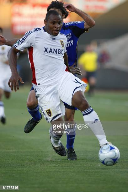 Jamison Olave of Real Salt Lake dribbles against the Kansas City Wizards during the game at Community America Ballpark on June 28 2008 in Kansas City...