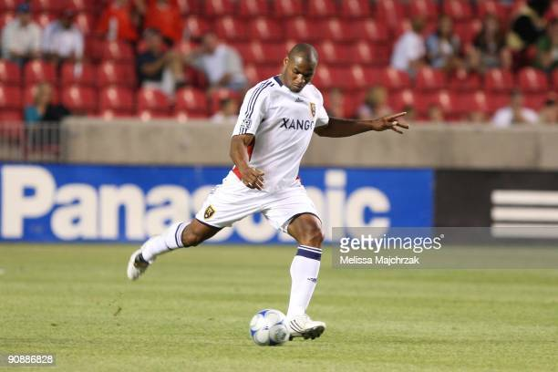 Jamison Olave of Real Salt Lake kick the ball against the Chicago Fire at Rio Tinto Stadium on September 12 2009 in Sandy Utah