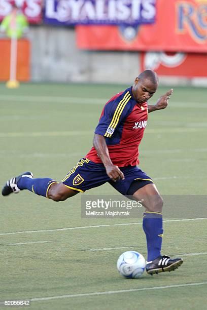 Jamison Olave of Real Salt Lake kicks the ball against Deportivo Saprissa at Rice Eccles Stadium on July 23 2008 in Salt Lake City Utah