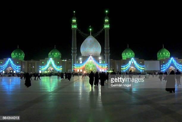Jamkaran mosque for Imam Mahdi at night in Iran