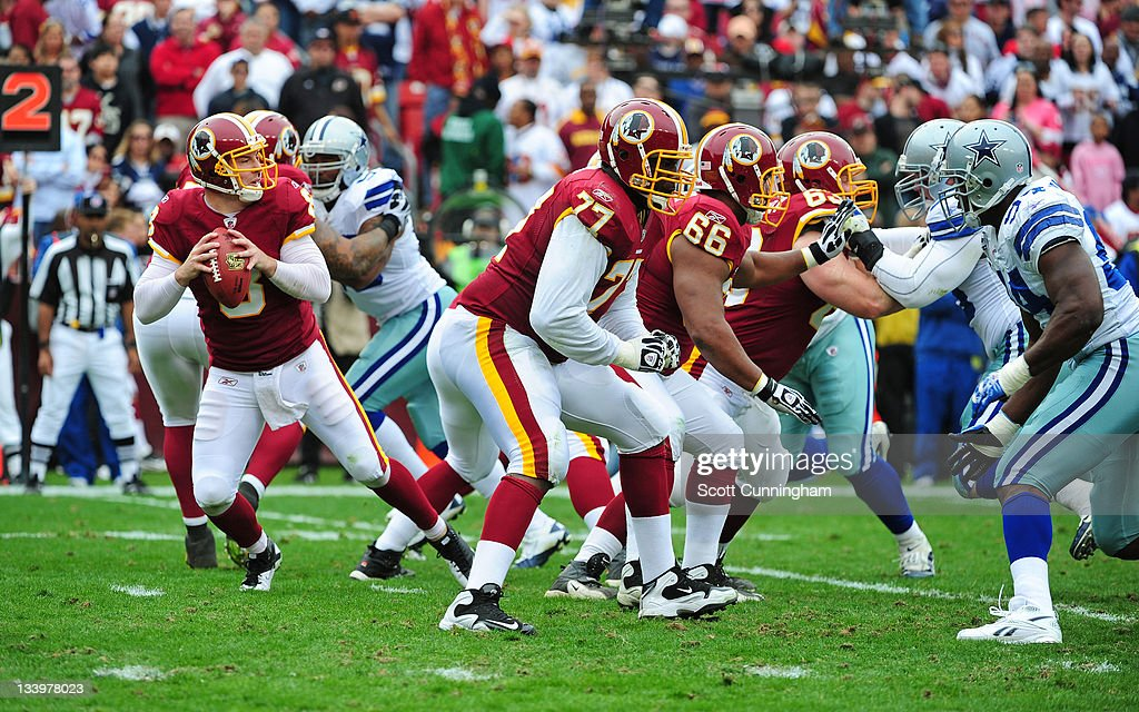 Jammal Brown #77 of the Washington Redskins blocks against the Dallas Cowboys at FedEx Field on November 20, 2011 in Landover, Maryland. The Cowboys won 27-24.