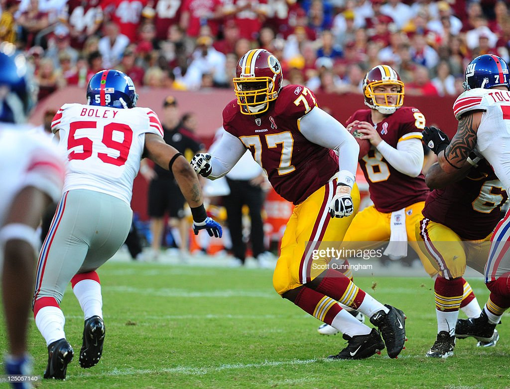 Jammal Brown #77 of the Washington Redskins blocks against the New York Giants at FedEx Field on September 11, 2011 in Landover, Maryland.