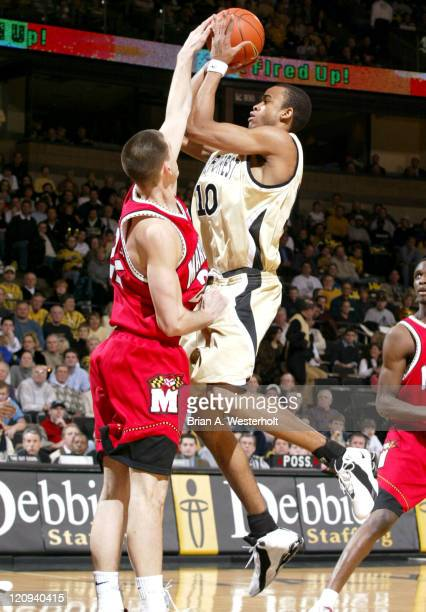 Jammal Levy has his shot rejected by Nik Caner-Medley during the first half of Wake Forest's 93-85 defeat of Maryland