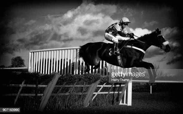 Jammin Masters ridden by Richard Johnson take a flight on their way to winning the Australian Open Tennis At 188Bet Maiden Hurdle at Chepstow...