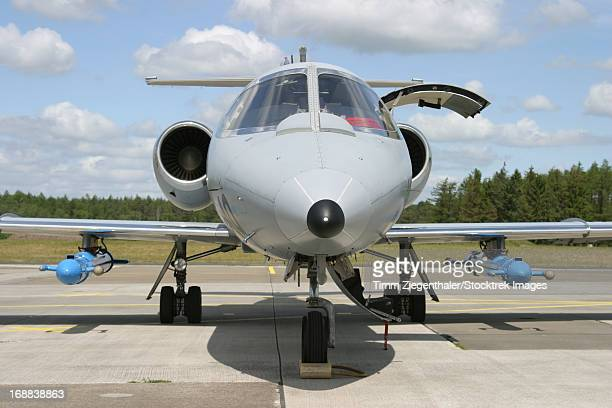 Jamming pods on a Learjet, offering electronic warfare training to NATO Forces, Hohn Air Base, Germany.
