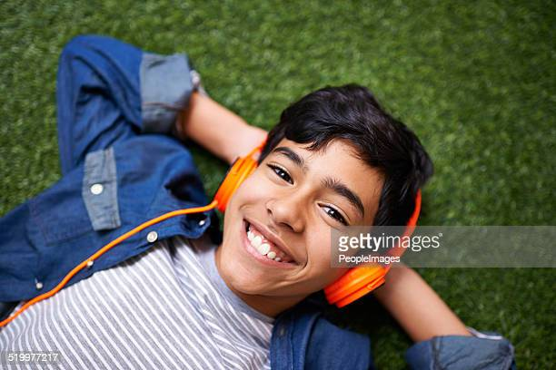 Jamming to his favorite tunes