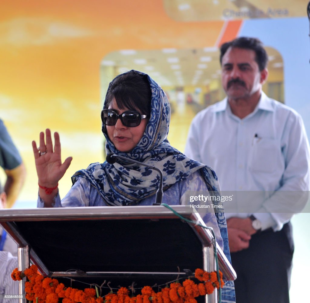 Jammu and Kashmir Chief Minister Mehbooba Mufti addresses after the inauguration of the upgraded terminal building at Jammu Airport, on August 17, 2017 in Jammu, India.