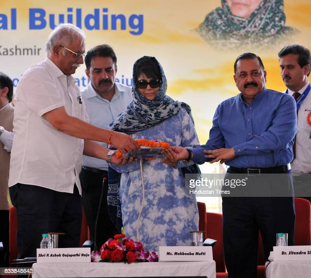 Jammu and Kashmir Chief Minister Mehbooba Mufti along with Union Minister for Civil Aviation P Ashok Gajapathi Raju and MoS in PMO Dr Jitendra Singh...