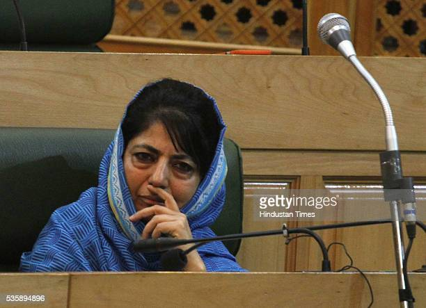 Jammu And Kashmir Chief Minister Mehbooba Mufti Sayeed during the Budget Session at Assembly on May 30 2016 in Srinagar India Jammu And Kashmir Chief...
