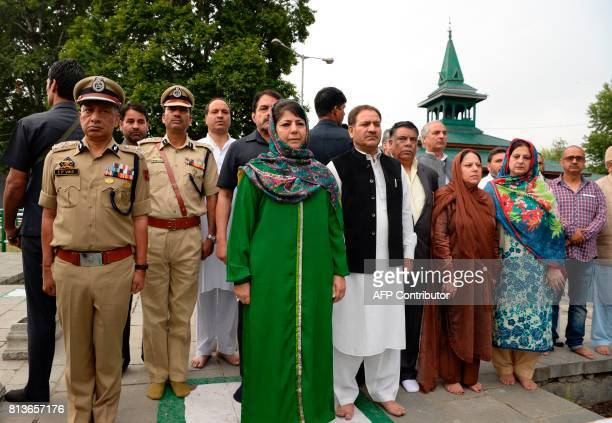 Jammu and Kashmir chief Minister Mehbooba Mufty attends a ceremony to mark the 85th anniversary of Kashmiris slain by the army of a Hindu king at the...
