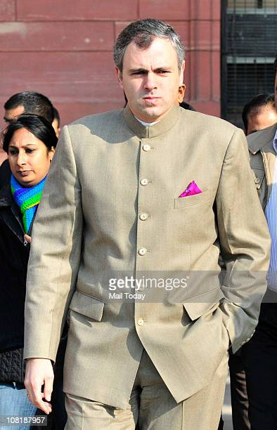 Jammu and Kashmir Chief Minister Omar Abdullah comes out after meeting Home Minister P Chidambaram in New Delhi on Wednesday