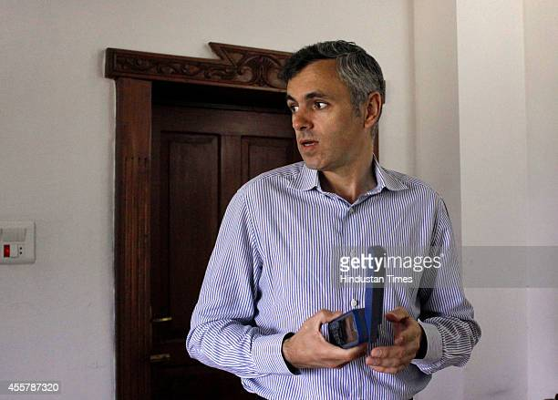 Jammu and Kashmir chief minister Omar Abdullah during an interview with Hindustan Times on September 20 2014 in Srinagar India As water leaves behind...