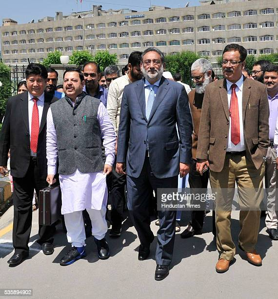 Jammu and Kashmir Finance Minister Haseeb Drabu arrives at Assembly House to present budget 201617 on May 30 2016 in Srinagar India Since Jammu and...