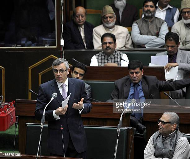 Jammu and Kashmir former chief minister and NC working president Omar Abdullah speaks in the assembly during budget session on March 19 2015 in Jammu...