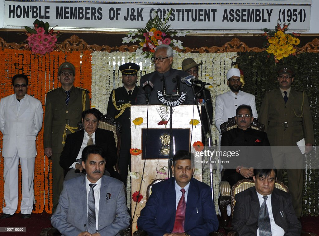 Jammu and Kashmir Governor NN Vohra addressing on the first day of budget session of state legislator assembly on March 18, 2015 in Jammu, India. In his address to the Assembly Governor NN Vohra said that the PDP-BJP coalition government will initiate a meaningful dialogue with all political groups including the Hurriyat Conference and examine the need for de-notifying disturbed areas in Jammu and Kashmir.