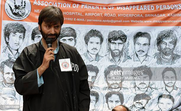Jammu and Kashmir Libration Front chairman Yasin Malik speaks during a protest by the Association of Parents of Dissapeared people on the...