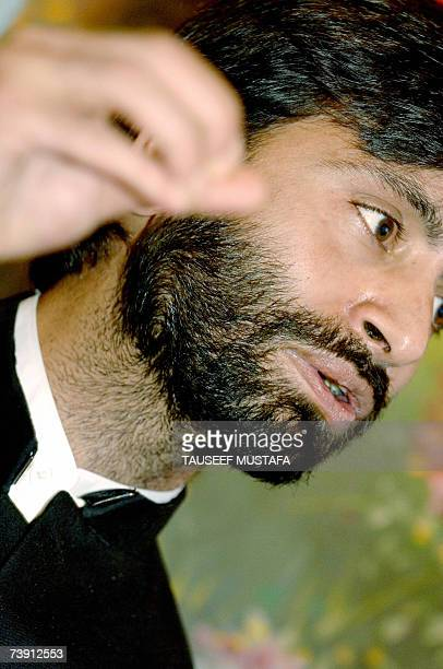 Jammu and Kashmir Libration Front chairman Yasin Malik speaks during a press conference in Srinagar, 18 April 2007. During the conference Malik...
