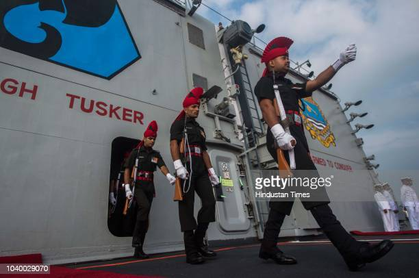 Indian Navy Band performs on the deck INS Kochi during Affiliation ceremony of INS Kochi with JAK LI at Naval Dockyard on September 24 2018 in Mumbai...