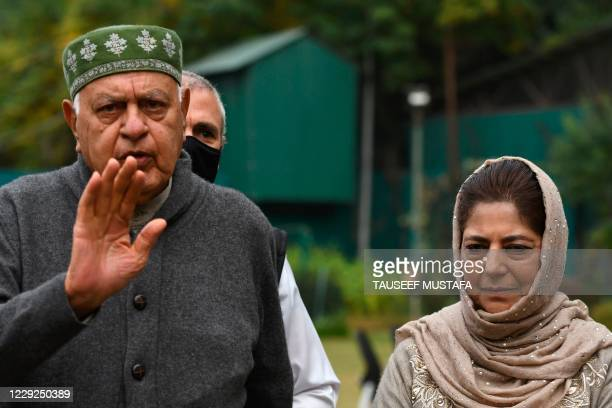Jammu and Kashmir National Conference President Farooq Abdullah along with former chief minister Mehbooba Mufti brief the media after a meeting with...