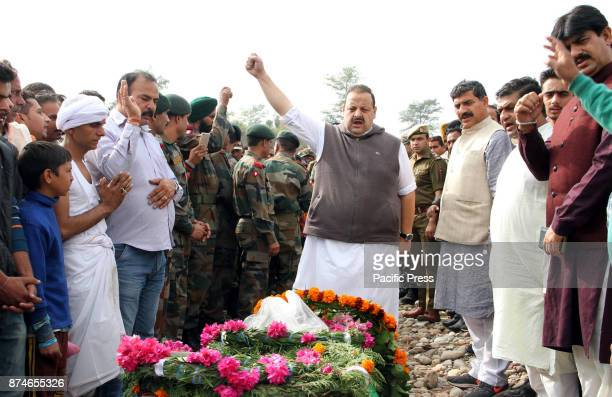 Jammu and Kashmir police officer pays tribute to Indian soldier Sohan lal who was killed in Manipur in a powerful IED explosion on Monday at village...