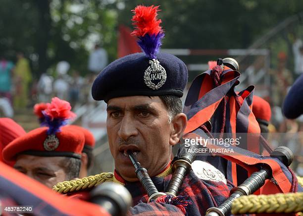 Jammu and Kashmir Police participate in a rehearsal for an Independence Day parade at Bakshi stadium in Srinagar on August 13 2015 India has stepped...