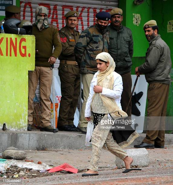 Jammu and Kashmir Policemen stand guard during a curfew on February 17 2019 in Jammu India Curfew continued without any relaxation in Jammu for the...