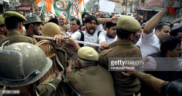 Jammu and Kashmir Pradesh Congress Committee Chief GA Mir and Congress workers detained during a protest against BJPPDP government during the 'Darbar...