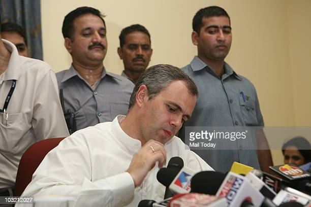 Jammu and Kashmir state Chief Minister Omar Abdullah addresses media after meeting with the Indian Prime Minister Manmohan Singh in New Delhi on...